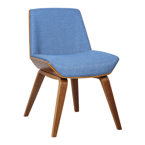 Armen Living LCAGSIBLUE Agi Mid-Century Side Chair in Blue Fabric with Walnut Wood Finish