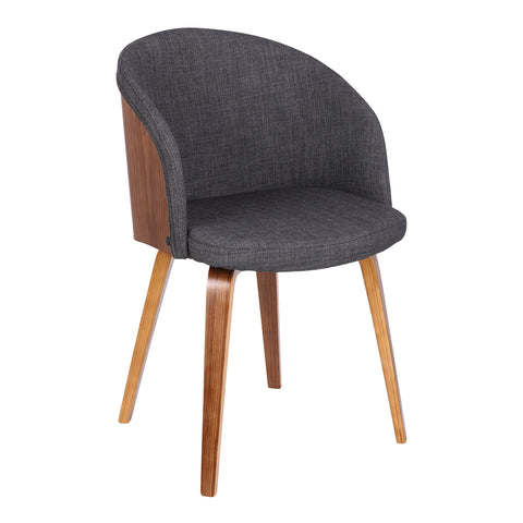 Armen Living LCALCHWACH Alpine Mid-Century Dining Chair in Charcoal Fabric with Walnut Wood