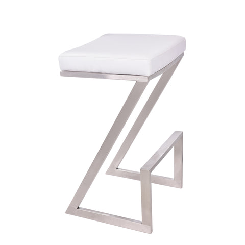 "Armen Living LCAT26BAWH Atlantis 26"" Counter Height Backless Barstool in Brushed Stainless Steel finish with White Faux Leather"
