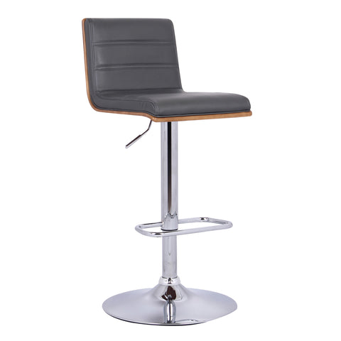 Armen Living LCAUBAWAGR Aubrey Barstool Chrome Base finish with Grey Faux Leather and Walnut Back