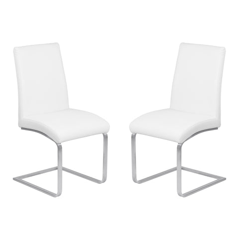Armen Living LCBLSIWHBS Blanca Contemporary Dining Chair in White Faux Leather with Brushed Stainless Steel Finish - Set of 2