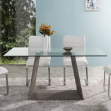 Armen Living LCBRDIGLTO Bravo Contemporary Dining Table In Dark Sonoma Base With Clear Glass