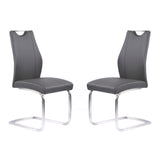 Armen Living LCBRSIGR Bravo Contemporary Dining Chair in Gray Faux Leather and Brushed Stainless Steel Finish - Set of 2