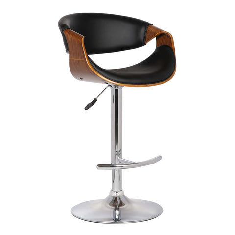 Armen Living LCBUBAWABL Butterfly Adjustable Swivel Barstool in Black Faux Leather with Chrome Finish and Walnut Wood