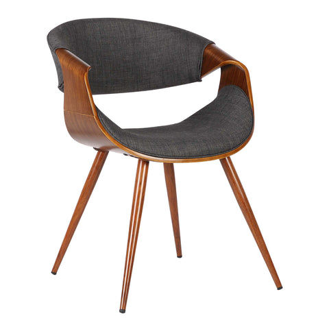 Armen Living LCBUCHWACH Butterfly Mid-Century Dining Chair in Walnut Finish and Charcoal Fabric