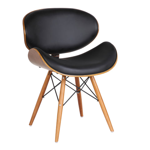 Armen Living LCCASIWABL Cassie Mid-Century Dining Chair in Walnut Wood and Black Faux Leather