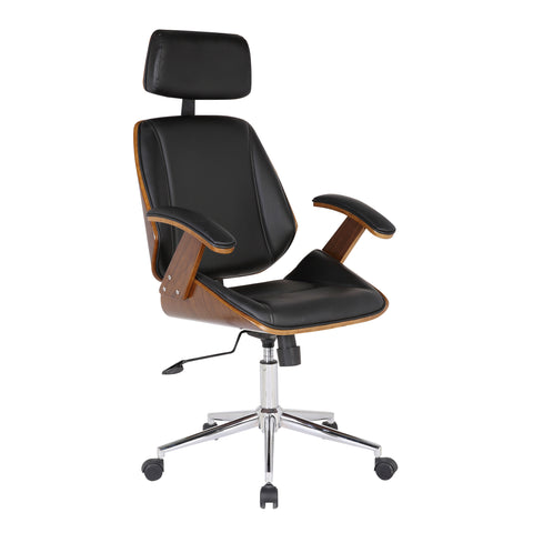 Armen Living LCCEOFCHBL Century Office Chair with Multifunctional Mechanism in Chrome finish with Black Faux Leather and Walnut Veneer Back