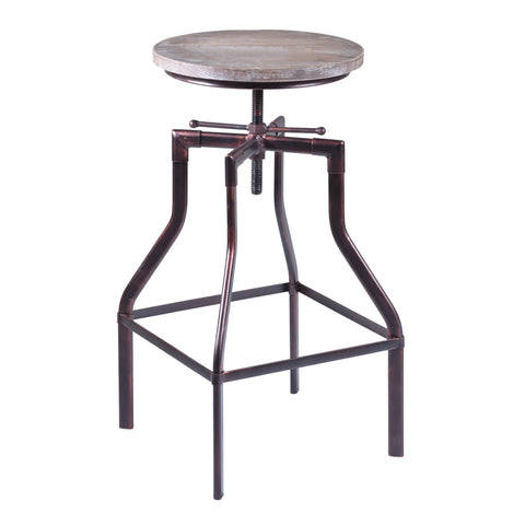 Armen Living LCCOSTCOWO Concord Adjustable Barstool in Industrial Copper finish with Pine Wood seat