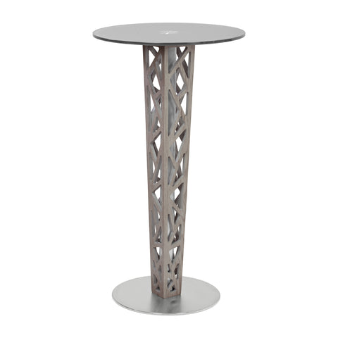Armen Living LCCRBTTOGR Crystal Pub Table with Gray Walnut Veneer column and Brushed Stainless Steel finish with Gray Tempered Glass Top