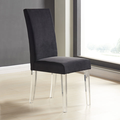Armen Living LCDACHBL Dalia Modern and Contemporary Dining Chair in Black Velvet with Acrylic Legs - Set of 2