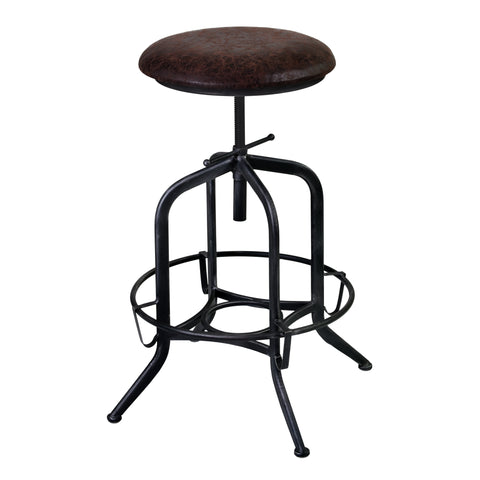 Armen Living LCELSTSBR Elena Adjustable Barstool in Industrial Grey Finish with Brown Fabric Seat