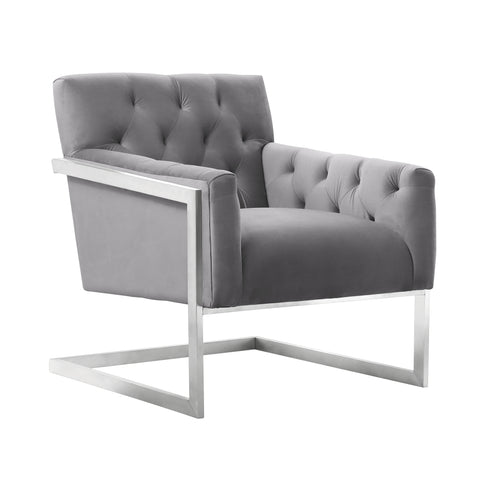 Armen Living LCEYCHGRVL Emily Contemporary Accent Chair in Brushed Stainless Steel with Grey Velvet