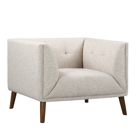Armen Living LCHU1BE Hudson Mid-Century Button-Tufted Chair in Beige Linen and Walnut Legs