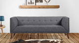 Armen Living LCHU3DG Hudson Mid-Century Button-Tufted Sofa in Dark Gray Linen and Walnut Legs