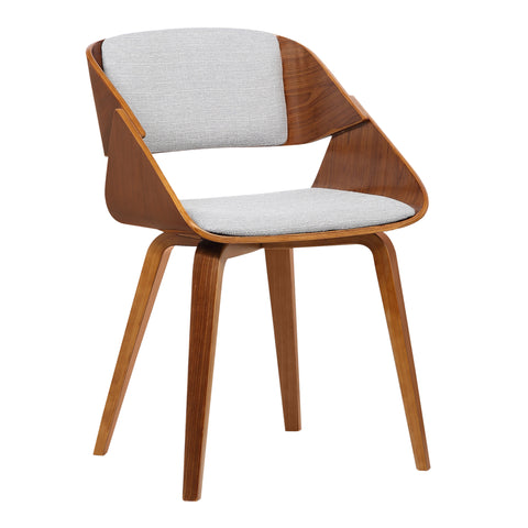 Armen Living LCIVCHWAGREY Ivy Mid-Century Dining Chair in Gray Fabric with Walnut Wood