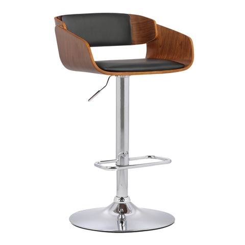 Armen Living LCJEBAWABL Jenny Mid-Century Adjustable Swivel Barstool in Chrome finish with Black Faux Leather and Walnut Wood