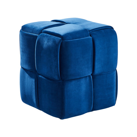 Armen Living LCJYOTBLUE Joy Contemporary Short Ottoman in Blue Velvet