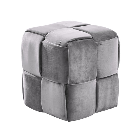 Armen Living LCJYOTGRAY Joy Contemporary Short Ottoman in Gray Velvet