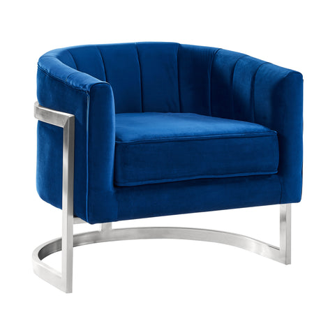Armen Living LCKMCHBLUE Kamila Contemporary Accent Chair in Blue Velvet and Brushed Stainless Steel Finish