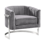 Armen Living LCKMCHGRAY Kamila Contemporary Accent Chair in Grey Velvet and Brushed Stainless Steel Finish
