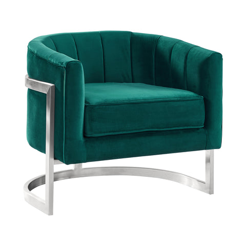 Armen Living LCKMCHGREEN Kamila Contemporary Accent Chair in Green Velvet and Brushed Stainless Steel Finish