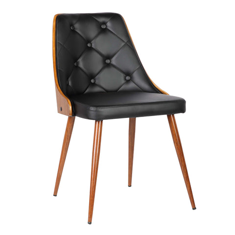 Armen Living LCLLSIWABL Lily Mid-Century Dining Chair in Walnut Finish and Black Faux Leather