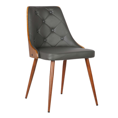 Armen Living LCLLSIWAGRAY Lily Mid-Century Dining Chair in Walnut Finish and Gray Faux Leather