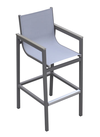 Armen Living LCMABAGR Marina Outdoor Patio Barstool in Grey Powder Coated Finish with Grey Sling Textilene and Grey Wood Accent Arms