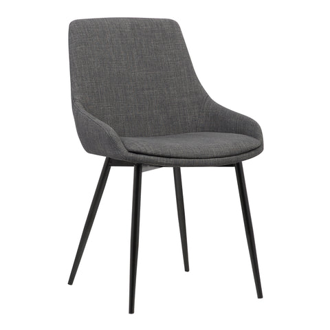 Armen Living LCMICHCH Mia Contemporary Dining Chair in Charcoal Fabric with Black Powder Coated Metal Legs
