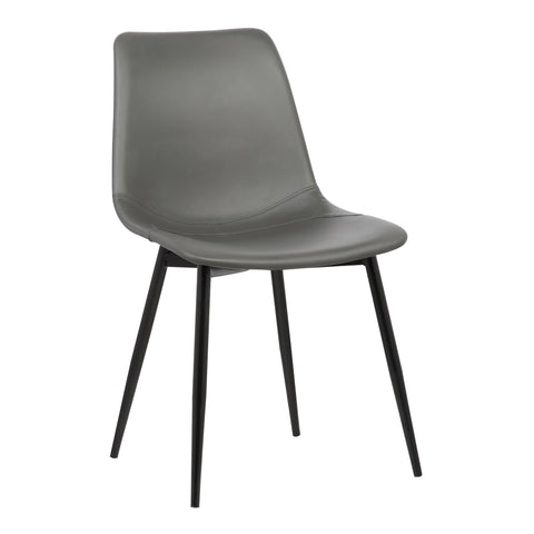 Armen Living LCMOCHGREY Monte Contemporary Dining Chair in Gray Faux Leather with Black Powder Coated Metal Legs