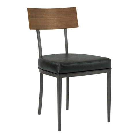 Armen Living LCOJCHVBWL Ojai Mid-Century Dining Chair in Mineral Finish with Vintage Black Faux Leather and Walnut Wood Back - Set of 2