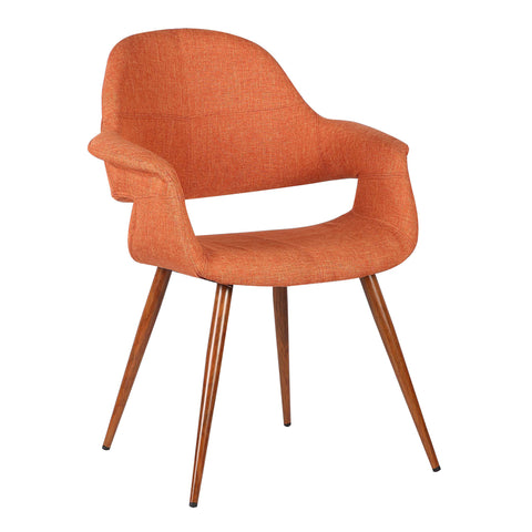 Armen Living LCPHSIWAOR Phoebe Mid-Century Dining Chair in Walnut Finish and Orange Fabric