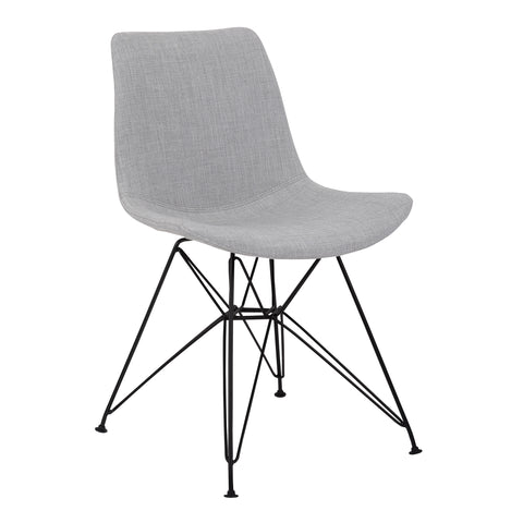 Armen Living LCPLCHBLGR Palmetto Contemporary Dining Chair in Grey Fabric with Black Metal Legs
