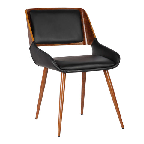 Armen Living LCPNSIWABL Panda Mid-Century Dining Chair in Walnut Finish and Black Faux Leather
