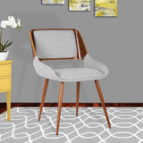 Armen Living LCPNSIWAGRAY Panda Mid-Century Dining Chair Walnut Finish and Gray Fabric