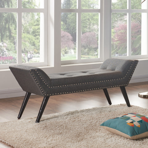 Armen Living LCPOBECH Porter Ottoman Bench in Charcoal Fabric with Nailhead Trim and Espresso Wood Legs