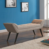 Armen Living LCPOBETA Porter Ottoman Bench in Taupe Fabric with Nailhead Trim and Espresso Wood Legs