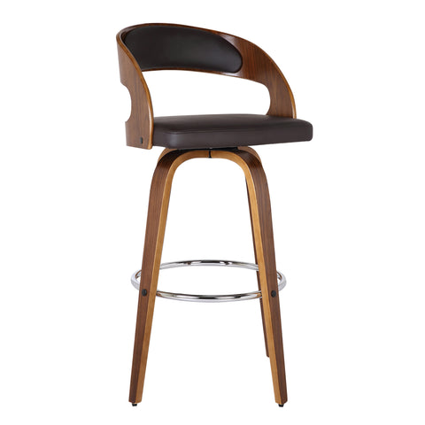 "Armen Living LCSHBABRWA26 Shelly 26"" Counter Height Barstool in Walnut Wood Finish with Brown PU"