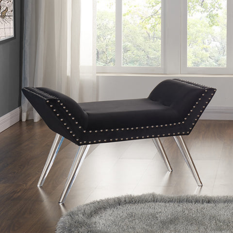 Armen Living LCSIBEBL Silas Ottoman Bench in Black Tufted Velvet with Nailhead Trim and Acrylic Legs