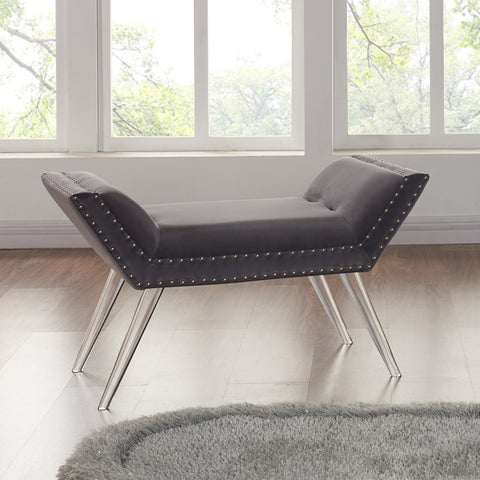 Armen Living LCSIBEGRAY Silas Ottoman Bench in Gray Tufted Velvet with Nailhead Trim and Acrylic Legs