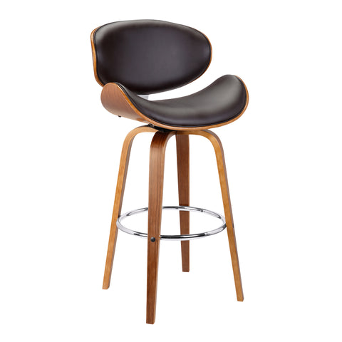 "Armen Living LCSLBABRWA30 Solvang 30"" Mid-Century Swivel Bar Height Barstool in Brown Faux Leather with Walnut Wood"