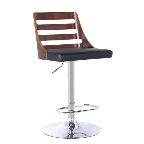Armen Living LCSTBAWABL Storm Barstool in Chrome finish with Walnut wood and Black Faux Leather