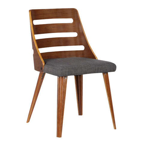 Armen Living LCSTSIWACH Storm Mid-Century Dining Chair in Walnut Wood and Charcoal Fabric