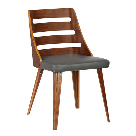 Armen Living LCSTSIWAGRAY Storm Mid-Century Dining Chair in Walnut Wood and Gray Faux Leather