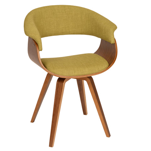 Armen Living LCSUCHWAGR Summer Modern Chair In Green Fabric and Walnut Wood
