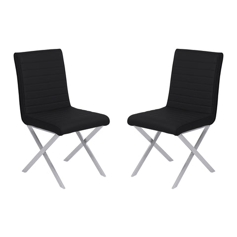 Armen Living LCTESIBLBS Tempe Contemporary Dining Chair in Black Faux Leather with Brushed Stainless Steel Finish - Set of 2
