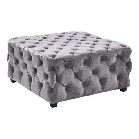 Armen Living LCTSOTVLGRAY Taurus Contemporary Ottoman in Grey Velvet with Wood Legs