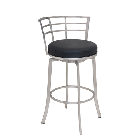 "Armen Living LCVI26BABLK Viper 26"" Counter Height Swivel Barstool in Brushed Stainless Steel finish with Black Faux Leather"