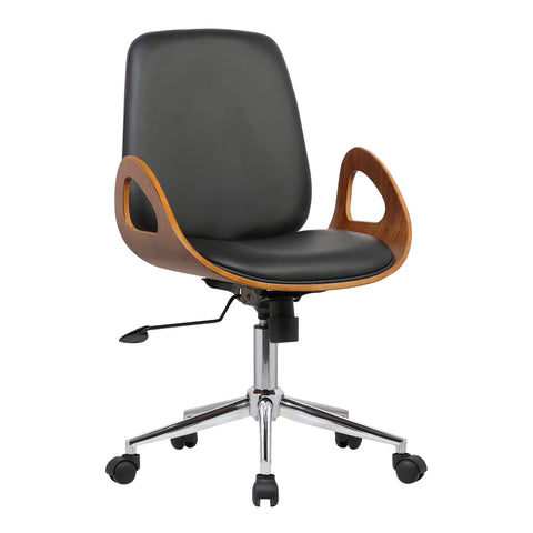 Armen Living LCWAOFCHBLACK Wallace Mid-Century Office Chair in Chrome finish with Black Faux Leather and Walnut Veneer Back