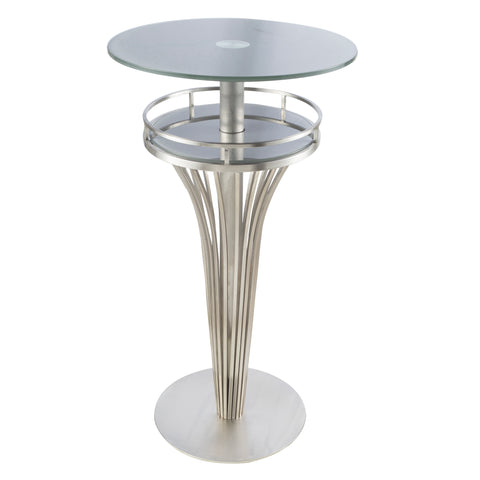 Armen Living LCYUBTB201TO Yukon Contemporary Bar Table In Stainless Steel and Gray Frosted Glass